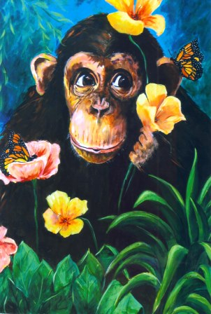 Monkey with Butterflies